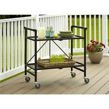Utility Cart With Wheels Brown Bronze Metal Storage Table Serving Folding GIFT