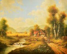 Pila Bauernhof mit Kuehen Poster Kunstdruck Bild 40x50cm