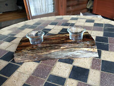 # 4190 wooden Butternut (Yellow Walnut) Rustic Double Candleholder