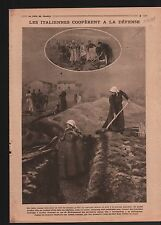 WWI Women Trench diggers Italy/ Railway Dixmude Yser Belgique 1918 ILLUSTRATION