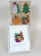 NIB Hero Arts Autumn Christmas Stamp Set of 4 Snowman Pumpkin Cornacopia Tree