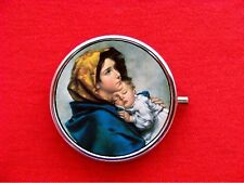VIRGIN MARY SAINT MOTHER CHILD BABY JESUS ROUND METAL PILL MINT BOX CASE