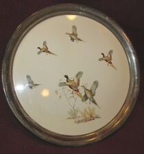 Vintage Ceramic and Sterling Silver Tray with Game Bird Pheasant Hunting Motif