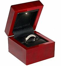 NEW 1 Cherry Rosewood Faux Wood  Ring Jewelry Gift Box with Led Light