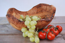 "Natural Olive Wood Fruit Bowl Dish Salad bread nuts Container rustic 30 cm (12"")"