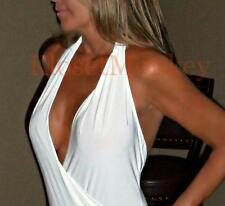 SEXY IVORY OFF-WHITE BACKLESS HALTER CLEAVAGE LOW CUT BODYSUIT KNIT TOP MEDIUM M