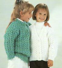 "Girls Knitting Pattern Chunky Cardigan and Sweater 24-32""   202"