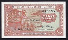 Rwanda Burundi 5 Francs P-1 RARE 1961  UNC