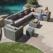 10PC All Weather Patio Aluminum Outdoor Sectional Sofa Furniture Rattan Wicker