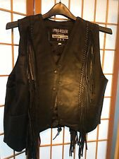 Pro Rider Women's Black Genuine Leather Vest with Fringe Size L