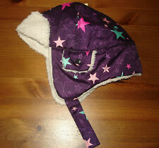NWT CHEROKEE INFANT GIRLS WINTER HAT W/ CHIN STRAP, PURPLE W/ STARS, NICE HAT