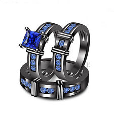 Ladies Blue Sapphire Trio Bridal Set Wedding Engagement Ring His And Her