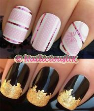 Nail Art Set # 165 Polka Dot bow/strip Agua transfers/decal/stickers & Hoja De Oro