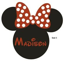 Wall Stickers custom baby name Minnie Mouse face vinyl decal decor Nursery kids