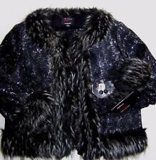NEW GIAMBATTISTA VALLI BLACK FAUX FUR TRIM SEQUIN LACE FULLY LINED JACKET size S