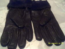 leather glove  ladies col brown  woth faux fur trim fleece lined size m-l