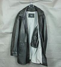 REDSKINS CITY WEAR LEATHER Men's Black Leather Long Jacket [SIZE X LARGE]