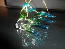 Hanging Fish Blue Green Figurine of Blown Glass Crystal