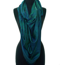 "Peacock Green Large Silk Shawl Light Pashmina Scarf Paisely 44""x72"" Versatile"