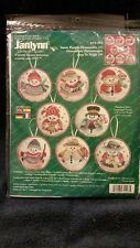Counted Cross Stitch Kit-Janlynn-8 Snow People Ornaments-New-Unopened