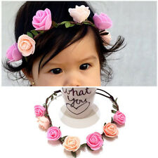 Fashion Baby Kids Handmade Rose Flower Headband Hair band  Wreath Headdress 2016
