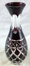 Dark Ruby Red Cut Crystal Clear Glass Bulb Diamond Lattice Star Pattern Bud Vase