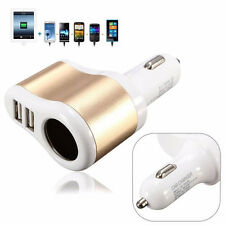 New 2 Way Car Cigarette Lighter Power Socket Charger Adapter & Two USB Port UK