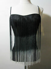 Top Small Black with White Tips Long Fringe Front Stretch Camisole Tank  NWT G75