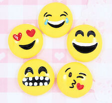 5 x EMOJI Style Smilie Flat Back Cabochon Embellishments Decoden Kawaii Craft