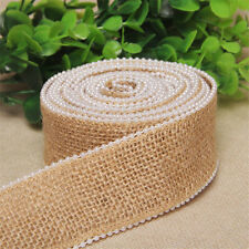 1M Natural Jute Hessian Burlap Ribbon Pearl Edge Rustic Vintage Wedding Party
