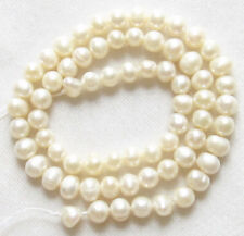 "5X Freshwater Pearl Cream White 5-7mm Potato Round Loose Beads 15"" Strand BULK"