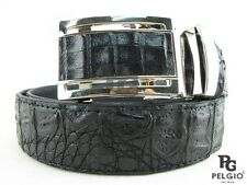 "PELGIO Real Genuine Crocodile Alligator Skin Leather Men's Belt 46"" Long Black"