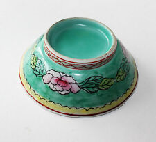 Antique Asian Chinese Green Inside & Outside Floral Footed Pedestal Dish Bowl