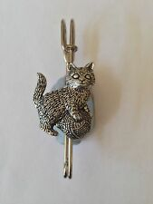"A42 Kitten wool  kilt pin Scarf or Brooch pin pewter emblem 3"" 7.5 cm"