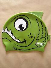 Bnwt Boys Girls Silicone Shark Swimming Cap With Fins Junior 3 4 5 6 7 8 9 10