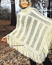 EASY LACY PONCHO / 10ply or Aran - Ladies crochet pattern