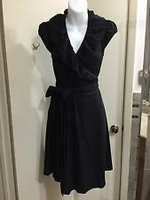 Diane Von Furstenberg Black Wrap Around Little Black Dress Size 6