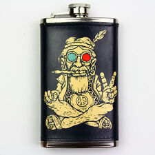 Leather Wrapped 6oz Stainless Steel Flask FSK404 Hippie Smoking Peace Sign