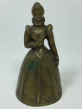 Vintage Solid Brass Lady Dinner Bell Queen Religious Antique Made In England BB1
