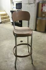 Original Vintage MID CENTURY ALL METAL GOLD BAR  STOOL