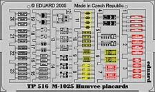 EDUARD 1/35 PRE-PAINTED PE PLACARDS for TAMIYA M1025 HUMVEE #35263 #TP516