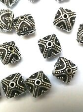 15 premium antique  silver plated  copper embellished 8 mm square focal beads .