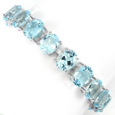 Sterling Silver 925 26Ct Genuine Natural Sky Blue Topaz Tennis Bracelet 7.5 Inch