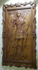 "Icon St Michael the Archangel. 3D Art Orthodox Wooden Carved picture. 13"" size."