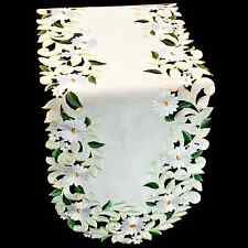"""European Yellow Spring Table Runner with White Daisy-16″ X 70"""""""