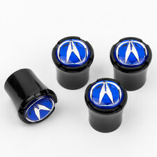 Acura Blue Logo Black Tire Valve Stem Caps -  Made in USA Quality - Licensed
