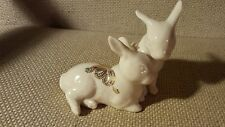 Lenox China Jewels Collection Two Rabbits 24K Yellow Gold Enamel Bunnies 1995