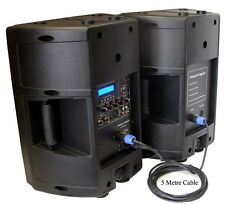 "New 2x10"" 240W PA/DJ Powered/Passive Moulded Speakers With USB/SD/LCD 5M Cable"