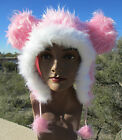 cotton candy PINK MOUSE EARS ADULT HAT ski cap animal costume white mickey cat