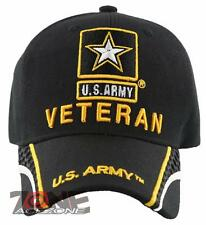 NEW! US ARMY STAR VETERAN SIDE LINE BALL CAP HAT BLACK